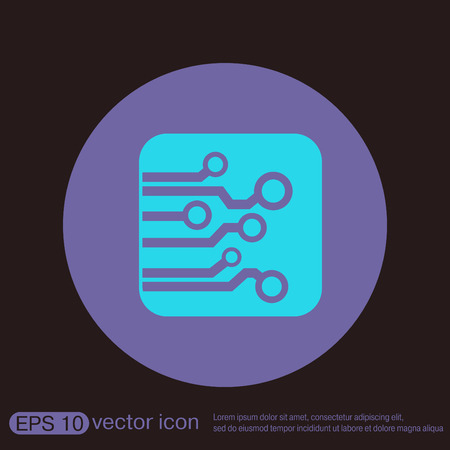computer system: Circuit board sign icon. Technology scheme symbol. Illustration