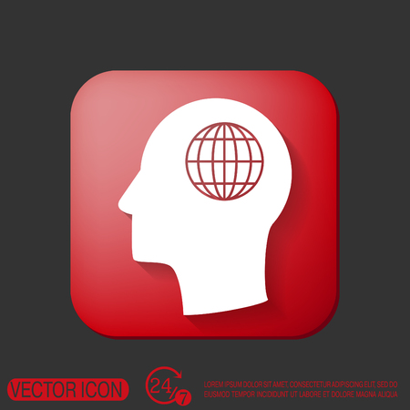 globe  the terrestrial ball: Vector Icon head think silhoutte vector man and his mind about  globe symbol. news. Symbol news. Icon globe planet Illustration