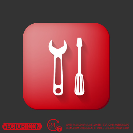 mechanism of progress: screwdriver and wrench, symbol settings sign