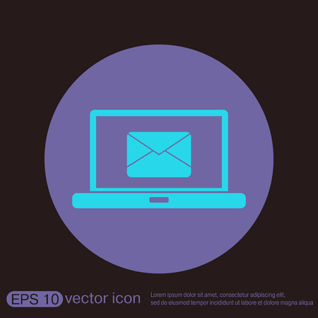 netbook: notebook with symbol a letter envelope, mail icon Illustration