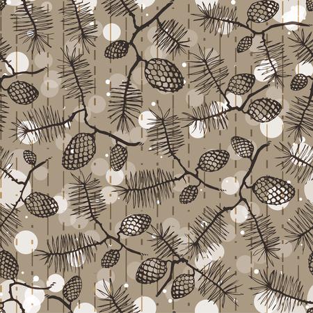 christmass tree: fir pine pattern. christmass tree cones seamless vector illustration