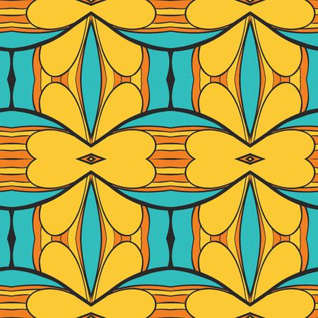 Abstract seamless ornament pattern. the kaleidoscope effect. Ethnic damask motif. Vintage style pattern. Vector illustration Illusztráció