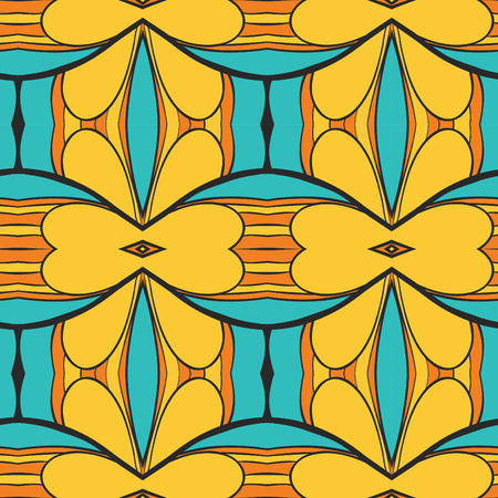 Abstract seamless ornament pattern. the kaleidoscope effect. Ethnic damask motif. Vintage style pattern. Vector illustration Vectores