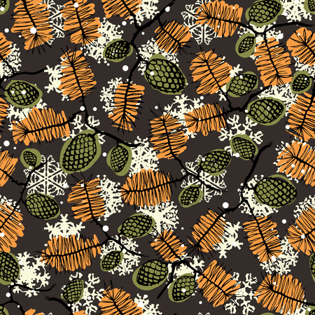christmass: fir pine pattern. christmass tree cones seamless vector illustration