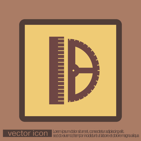 millimeter: ruler and protractor. characters geometry. Education sign. symbol icon drawing and geometry Illustration
