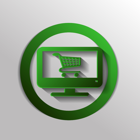 netbook: monitor with symbol shopping cart, shopping in Internet-shop, icon online shopping