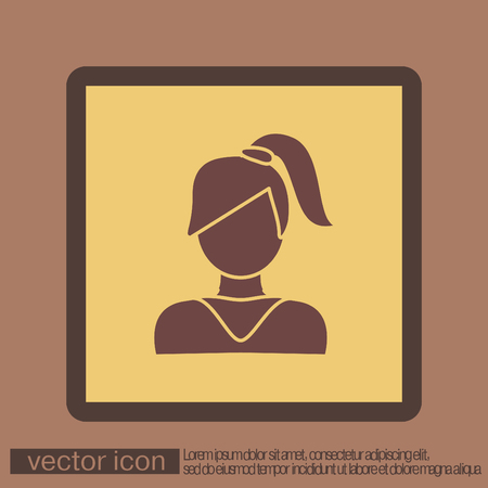 bangs: A female avatar. girl with hair tail. Avatar of a woman with long hair and bangs