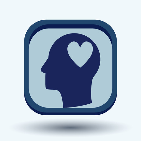 Vector Icon head think silhoutte vector man and his mind about  heart sign.  valentine icon