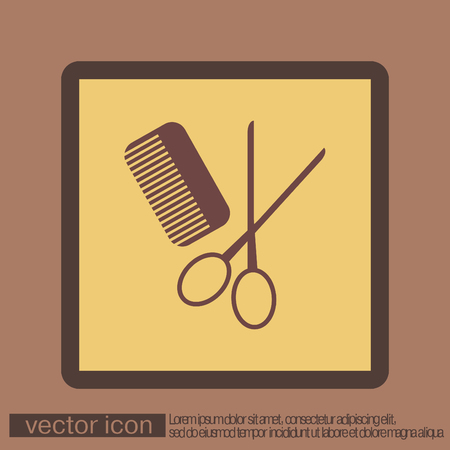 barbershop: comb and scissors. barbershop. symbol of hair and beauty salon Illustration