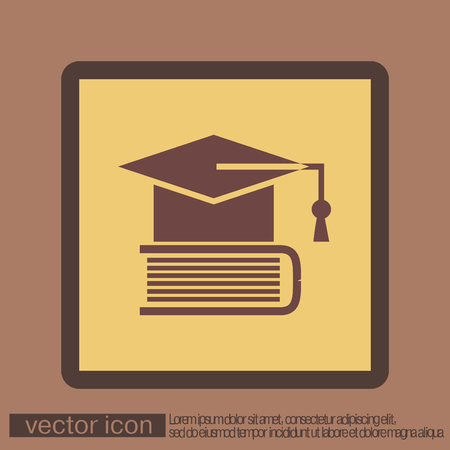 Graduate hat on the book. icon teachings. symbol of knowledge, college or high school