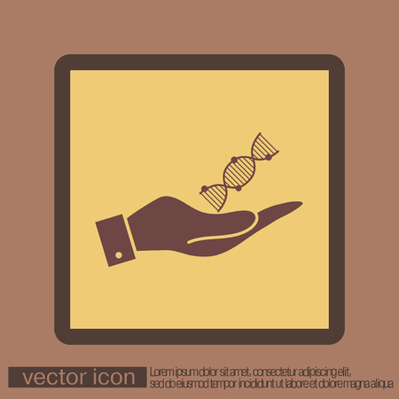 hand holding a DNA helix. Medical Research character. Symbol of medicine. Icon Biology and Genetics Illustration