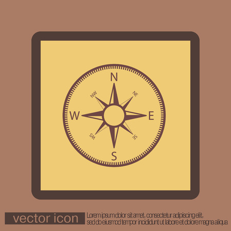 latitude: compass sign. colored button, icon orienteering, traveling or camping in the woods