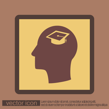 think about: Vector Icon head think silhoutte vector man and his mind about  graduate hat sign. Education sign. symbol icon college or institute. graduation