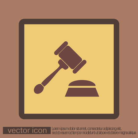 judgment: gavel. icon law. symbol of justice and judgment
