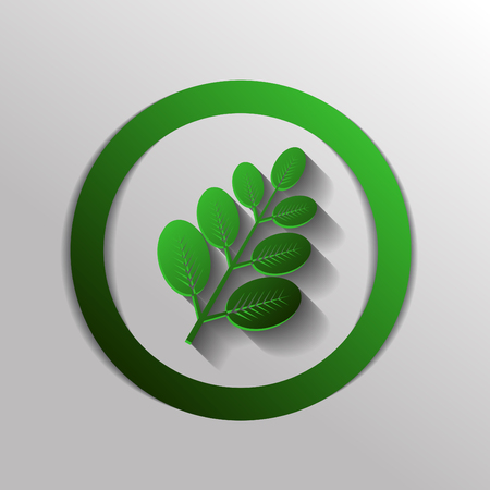 button grass: branch with leaves. the symbol of biology. symbol icon geometry. teaching natural history