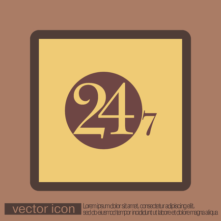7 days a week: 24 7 icon. open 24 hours a day and 7 days a week icons
