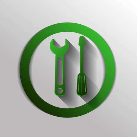 mechanical texture: screwdriver and wrench, symbol settings sign