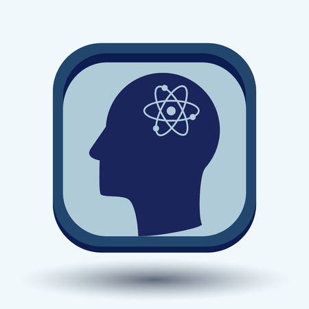 think about: Vector Icon head think silhoutte vector man and his mind about the atom, molecule. the symbol of physics and chemistry. symbol icon of physics or chemistry . the study of science Illustration