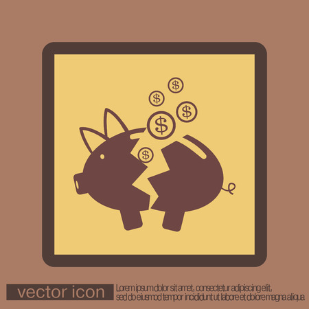 bankrupt: broken piggy Bank icon Illustration