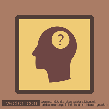 wonders: Head with a question mark. Avatar wonders. Icon help Illustration