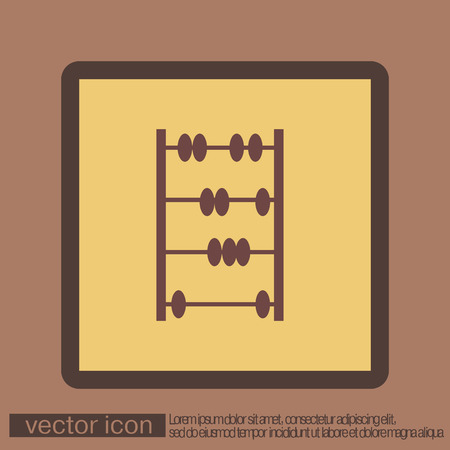 old sign: old retro abacus icon. math sign