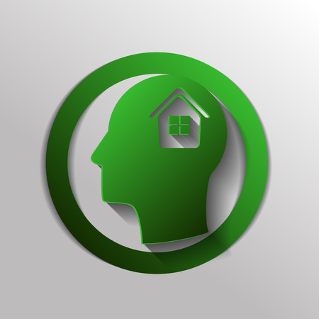 think about: Vector Icon head think silhoutte vector man and his mind about  House icon. Home sign Illustration