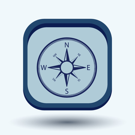 orienteering: compass sign. colored button, icon orienteering, traveling or camping in the woods