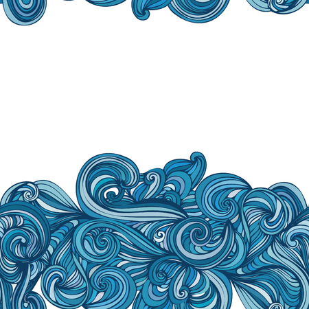 ocean waves: abstract wave hand-drawn pattern. seamless texture. wave background