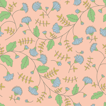 flower fields: Cornflower pattern. Vector seamless texture