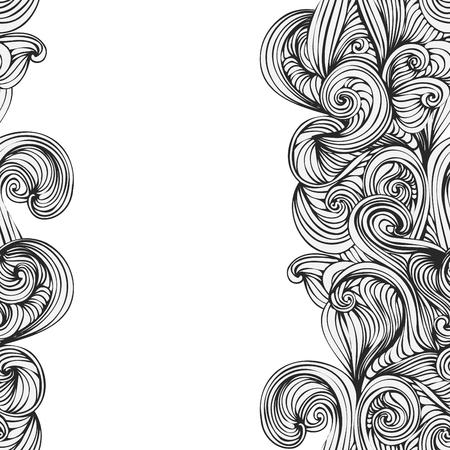 olas de mar: Onda abstracta dibujado a mano patr�n. textura perfecta. Fondo de la onda