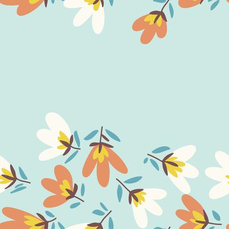 Blumenmuster. Frühling oder Sommer Vektor Hintergrund. Hand gezeichnete Doodle Muster mit Gartenblume und Knospe.