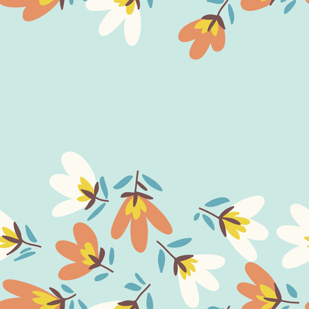 spring summer: Floral pattern. Spring or summer vector background. Hand-drawn doodle pattern with garden flower and bud. Illustration