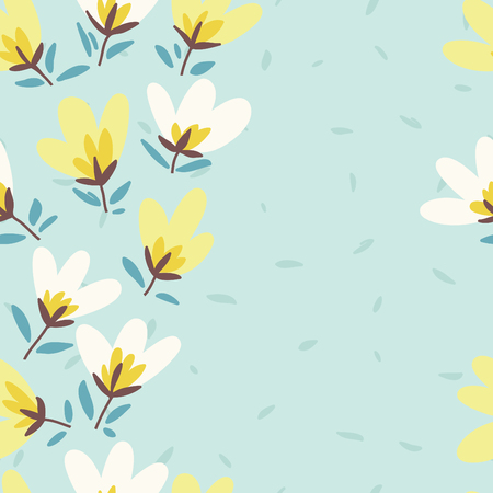 garden flowers: Floral pattern. Spring or summer vector background. Hand-drawn doodle pattern with garden flower and bud. Illustration