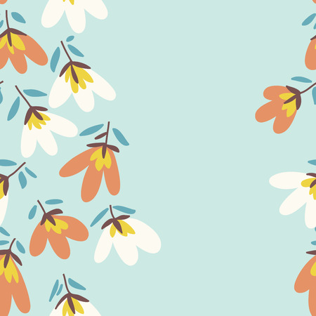 Floral pattern. Spring or summer vector background. Hand-drawn doodle pattern with garden flower and bud. Illustration