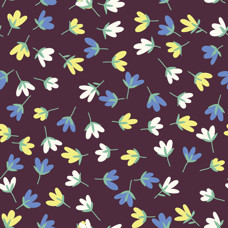flower designs: Floral pattern. Spring or summer vector background. Hand-drawn doodle pattern with garden flower and bud. Illustration