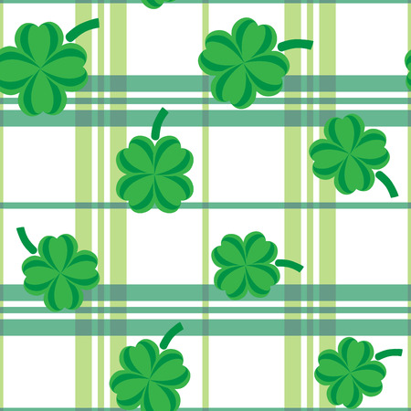 patric: St Patric day pattern. Green clover leafs seamless vector pattern.