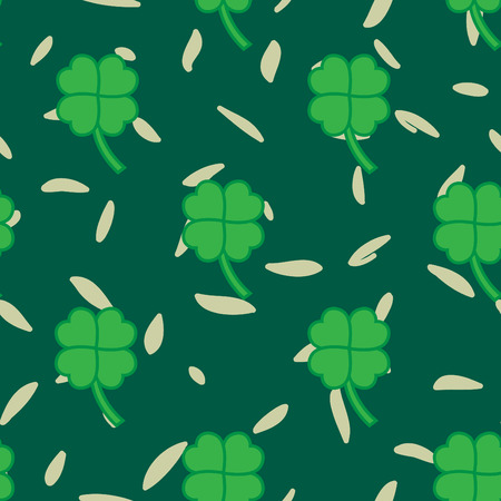 patric background: St Patric day pattern. Green clover leafs seamless vector pattern.