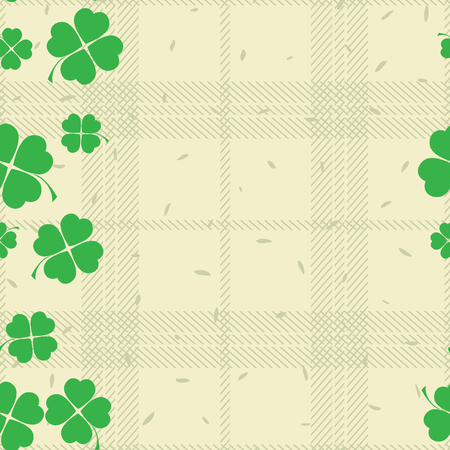 leafed: St Patric day pattern. Green clover leafs seamless vector pattern.