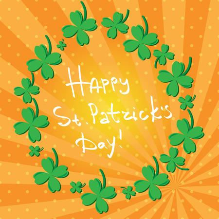 St Patric day pattern. Green clover leafs seamless vector pattern.