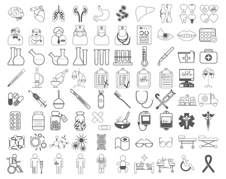 hippocrates: Medic icon vector illustration. Medical vaccinations outline linear. Hospital and vaccine, health medicine, doctor and laboratory, pharmacy business icons set.