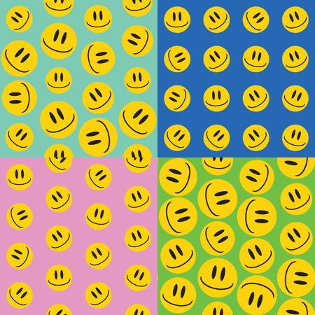 emoji. emoticons smile icon set. vector seamless pattern. funny illustration Illustration