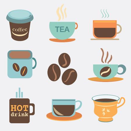 tea and coffee cups and mug icon set Illustration