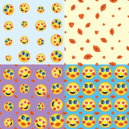 Emoji. Emoticons Lächeln Icon-Set. Vektor nahtlose Muster. lustige Illustration Illustration