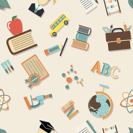 Schule Muster. nahtlose Textur mit Bildung Symbol