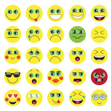 Emoji. Emoticons Lächeln Icon-Set. isolierten Vektor-Illustration auf weißem Hintergrund
