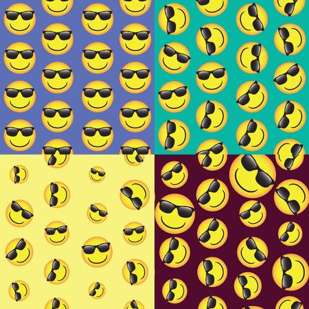 emoji. émoticônes sourire icon set. modèle vectoriel sans soudure. drôle illustration