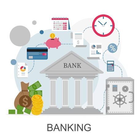 Banking concept infographic. Vector icons of financial analytics, online banking and payment control concepts.