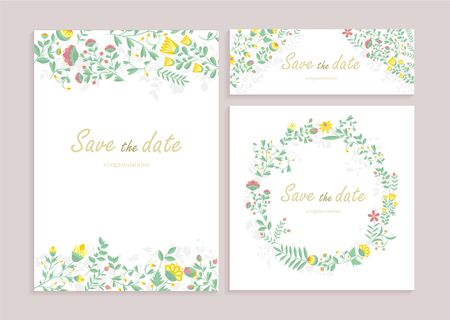 Set of greeting card wirh floral decor. Heartily congratulation, wedding Invitation, floral invite, decorative wreath & frame pattern. Cards save your date card with an elegant garden plant Stock Illustratie
