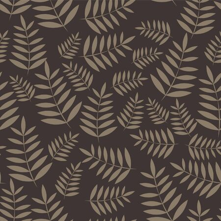 Vector tropical leaves pattern. Seamless botanic hand-drawn texture. Spring floral background summer herbs. Illustration