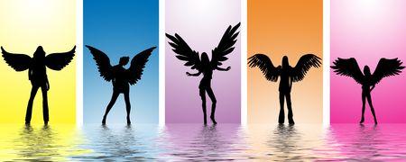 teenagers having fun: dancing angels in water ripples
